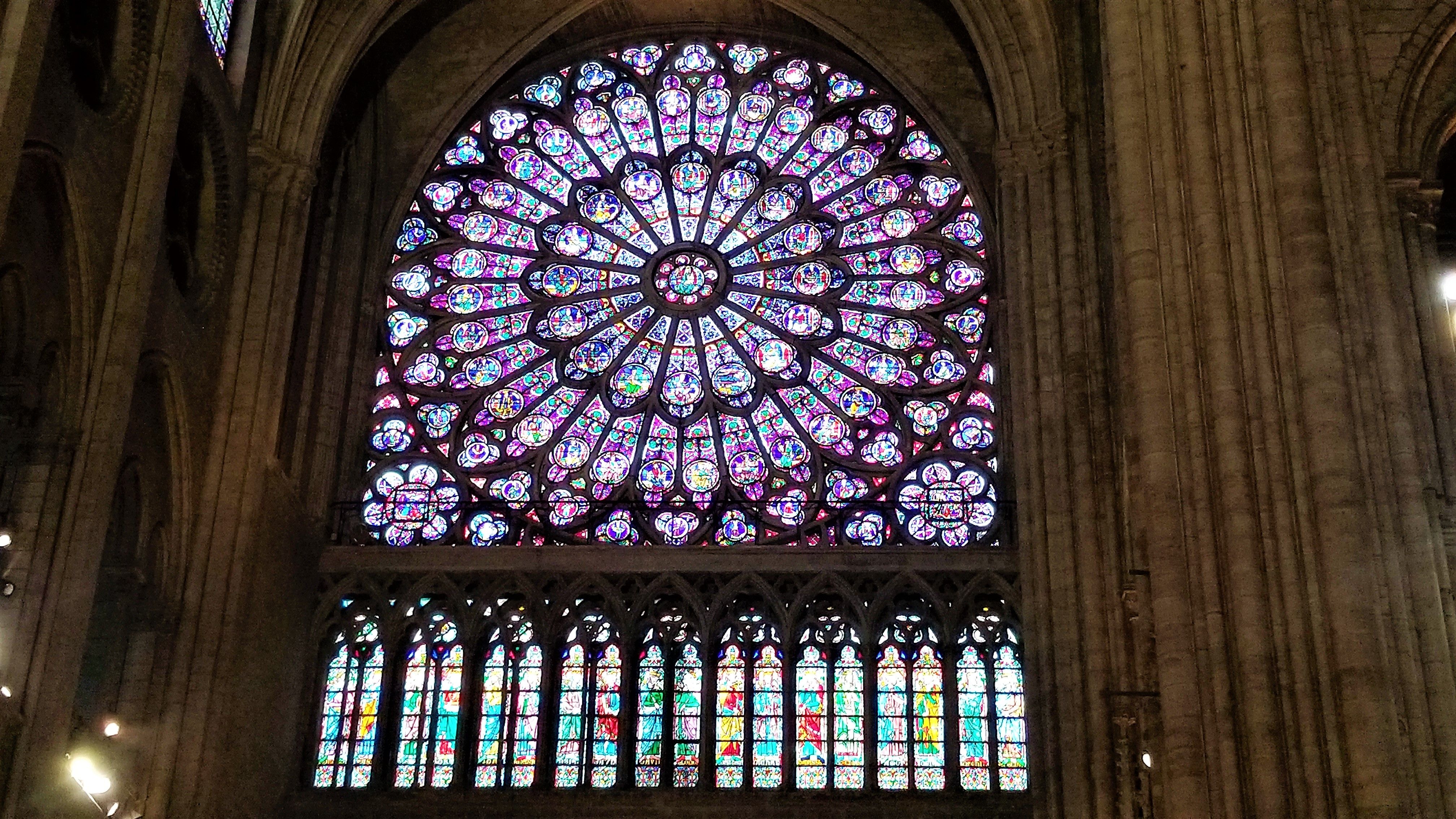 Close up of the stained glass window