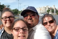 Squeeze in selfie in front of Madrid Town Hall.